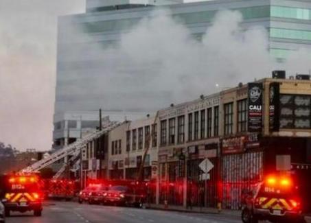 美国洛杉矶市中心发生爆炸事件,一所大麻加工厂出现不明原因火灾