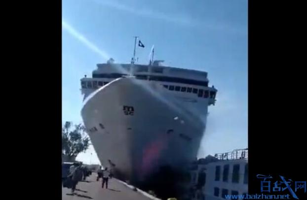 巨型游輪沖向海港,巨型游輪沖進威尼斯,游輪沖進威尼斯