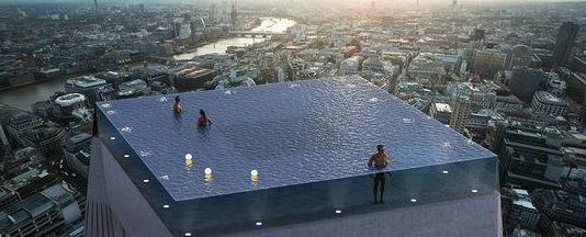 全球首个无边泳池明年开建,设在55层楼顶还能看风景