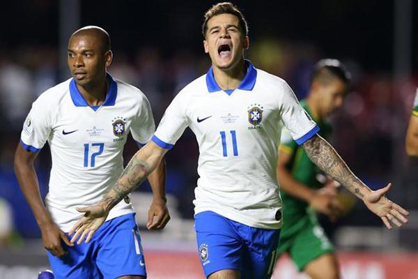 2019美洲杯巴西3-0玻利维亚 曾是巴萨废将库蒂尼奥梅开二度成最大功臣