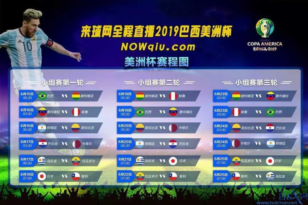 2019美洲杯赛程安排:阿根廷16日对阵哥伦比亚