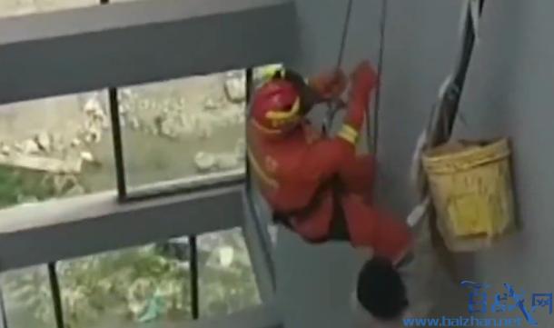 施工男子悬吊17楼,施工员悬吊17楼,安全绳断裂施工员悬吊17楼
