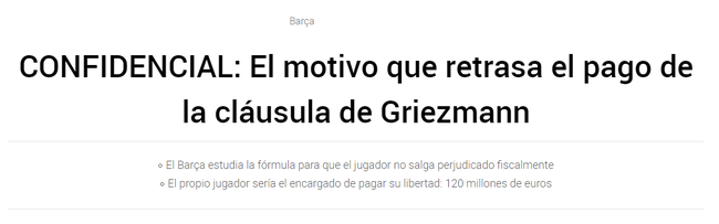 格列兹曼的违约金已经降到1.2亿欧元 巴萨让格子自己去缴违约金