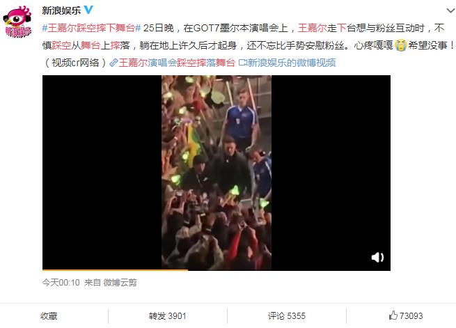 王嘉尔踩空摔落舞台,王嘉尔演唱会,王嘉尔