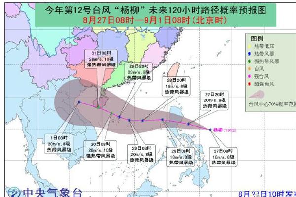 """2019年第12號臺風""""楊柳""""生成 路徑目前暫未確定有登陸海南可能"""