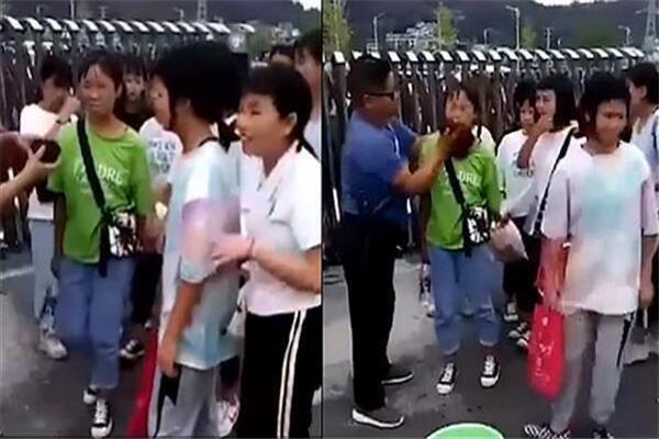 老师提水桶校门口给女生卸妆 老师:学生就要有学生的样子