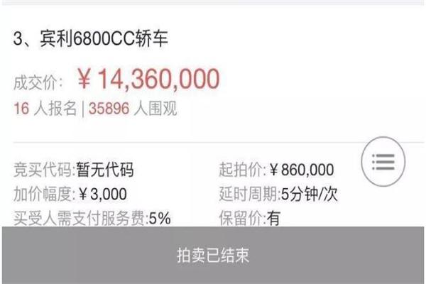 广西一女子拍卖多按了一个0 143.6万的二手宾利以1436万成交
