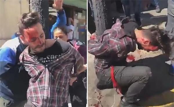 窃贼被绑灯柱遭群殴,满脸是血跪倒在地
