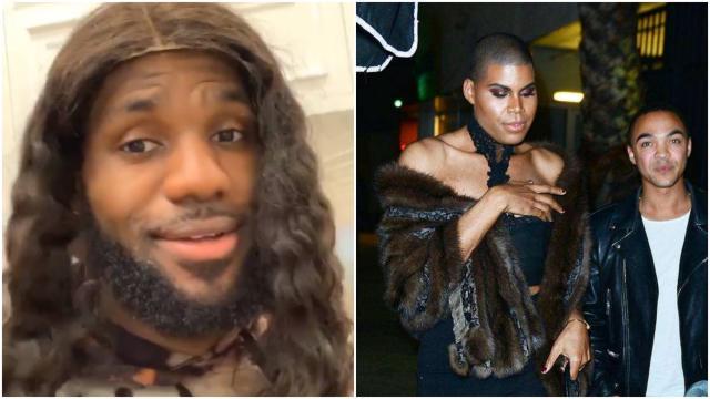 詹姆斯戴假发,NBA詹姆斯女装,NBA詹姆斯