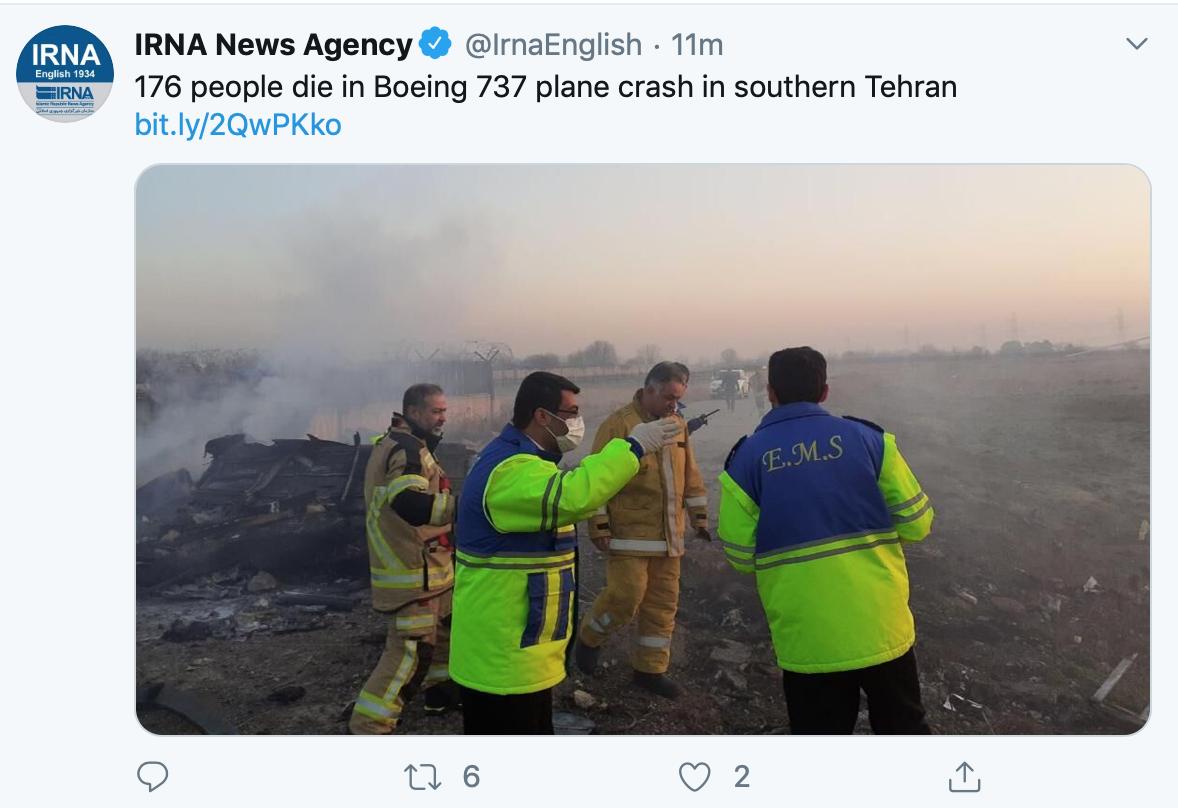 乌克兰客机坠毁176人全部死亡 机型为波音737客机