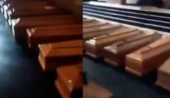 意大利教堂堆满棺材,意大利教堂成停尸间,意大利疫情
