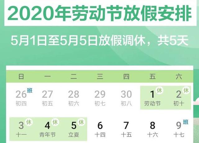 2020劳动节放假几天?今年五一为什么原因调整为连休5天