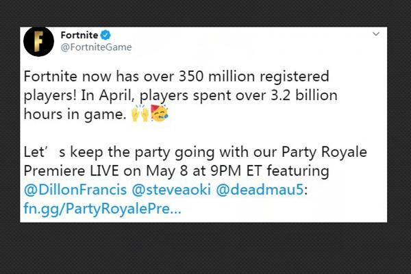 竞技游戏堡垒之夜注册玩家突破3.5亿,4月游戏时长超过32亿小时