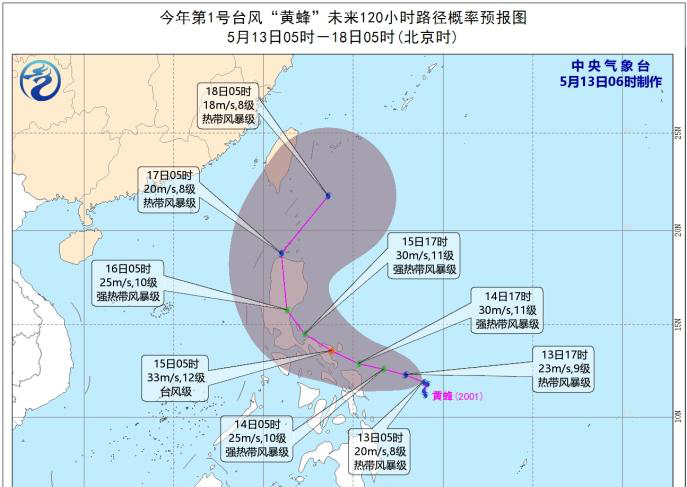 2020年第1号台风黄蜂生成 1号台风黄蜂路径预报图一览