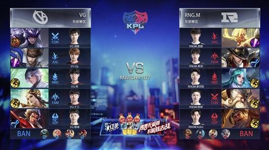 王者荣耀KPL:RNG.M对阵VG,RNG3:0强势拿下胜利