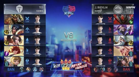 王者荣耀KPL:TES对阵EDG.M,EDG.M惜败吃下十一连负