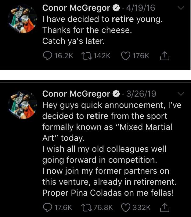 """""""嘴炮""""康纳·麦格雷戈又宣布退役了:决定退出战斗 四年已退役三次"""