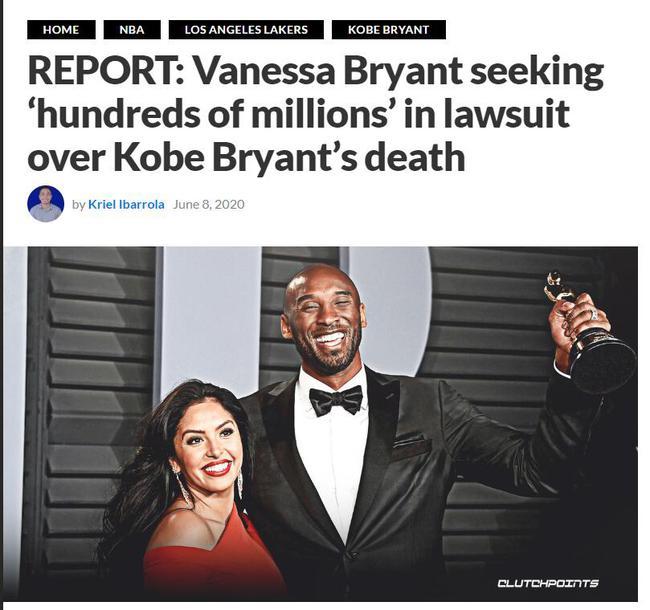 瓦妮莎起诉直升机公司! 文件曝光要求索赔数亿美元