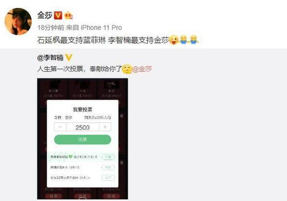 """李智楠给金莎投票,网友称简直是""""有生之年""""系列!"""
