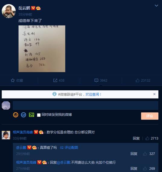 岳云鹏手写高考成绩单算错总分,岳云鹏,高峰