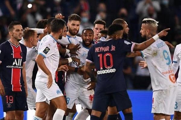 2020年法甲巴黎VS马赛0-1惨遭2连败! 内马尔等5人被红牌罚下