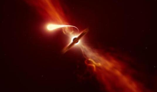 黑洞撕裂恒星瞬间,黑洞撕裂恒星画面,黑洞