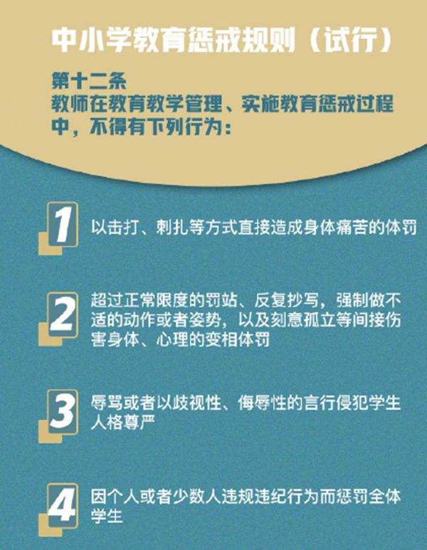 中小学教师7类不当教育行为被禁止,划清教育惩戒和体罚界限