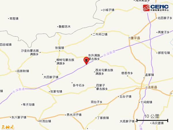 今日凌晨沈阳突发地震最新消息:康平发生3.4级地震