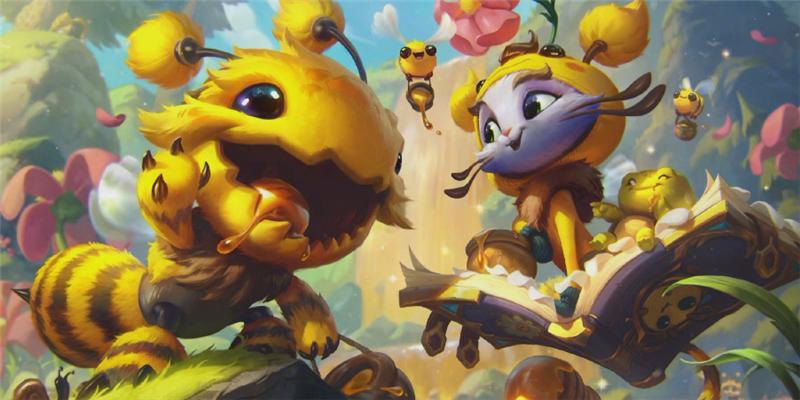 英雄联盟最新小蜜蜂皮肤公开,大嘴化身蜜蜂嘴里还抹了蜜