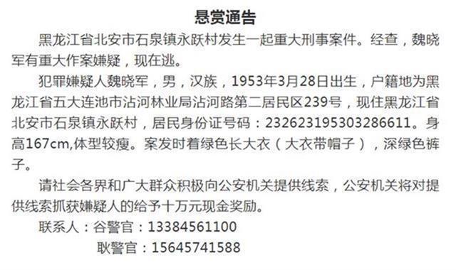 """黑龙江杀7人案件,黑龙江杀7人嫌犯,""""2021.2.16""""杀人案件,北安2.16杀人案件,魏晓军"""