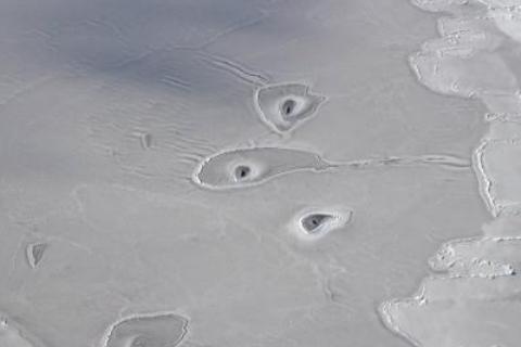 北极冰层奇怪孔洞,美国航天局,北极冰层孔洞现象