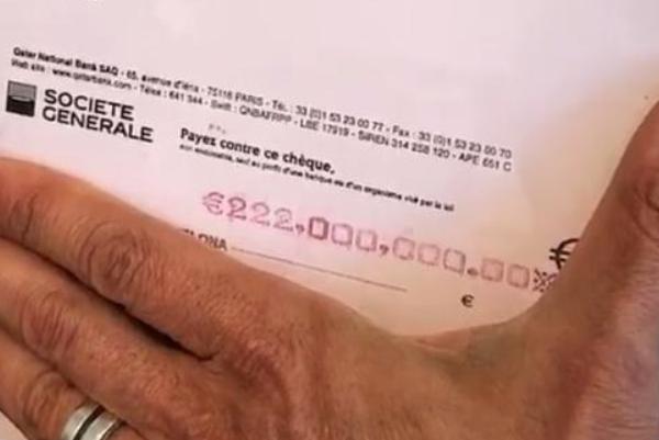 内马尔2.2亿转会费支票曝光!